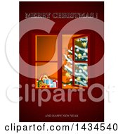 Christmas Tree Through An Open Window On Red With Greetings