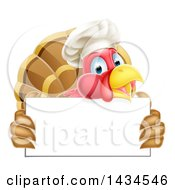 Clipart Of A Happy Chef Turkey Bird Holding A Blank Sign Board Royalty Free Vector Illustration by AtStockIllustration