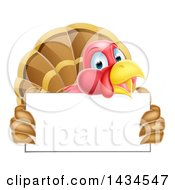 Happy Turkey Bird Holding A Blank Sign Board