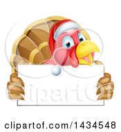 Clipart Of A Happy Christmas Turkey Bird Wearing A Santa Hat And Holding A Blank Sign Board Royalty Free Vector Illustration