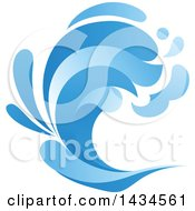 Clipart Of A Blue Splash Wave Royalty Free Vector Illustration