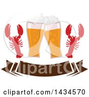 Clipart Of Clinking Glasses Of Beer And Lobsters Over A Banner Royalty Free Vector Illustration by Vector Tradition SM