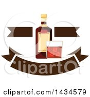 Clipart Of A Bottle And Glass Of Whiskey With Banners Royalty Free Vector Illustration