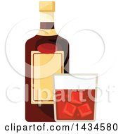 Clipart Of A Bottle And Glass Of Whiskey Royalty Free Vector Illustration