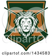 Clipart Of A Male Lion Head Over Crossed Hunting Rifles In A Shield Royalty Free Vector Illustration