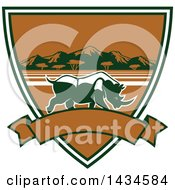 Clipart Of A Big Game Rhinoceros Safari Hunting Shield With A Banner Royalty Free Vector Illustration by Seamartini Graphics