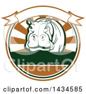 Clipart Of A Big Game Hippopotamus Safari Hunting Design With A Banner Royalty Free Vector Illustration by Vector Tradition SM