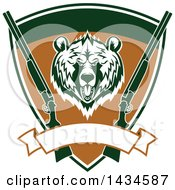 Clipart Of A Grizzly Bear Head And Hunting Rifles In A Shield With A Blank Banner Royalty Free Vector Illustration by Vector Tradition SM