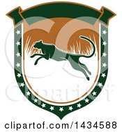 Clipart Of A Leaping Cheetah Or Panther In A Hunting Shield Royalty Free Vector Illustration by Vector Tradition SM