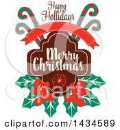 Happy Holidays Merry Christmas Greeting With Candy Canes And Gingerbread Men