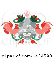 Clipart Of A We Wish You A Merry Christmas 2017 Greeting With Roosters Royalty Free Vector Illustration by Seamartini Graphics