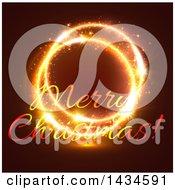 Merry Christmas Greeting In Golden Sparkler Lights