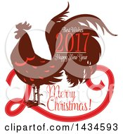 Clipart Of A Merry Christmas Best Wishes 2017 Happy New Year Rooster Greeting Royalty Free Vector Illustration by Vector Tradition SM