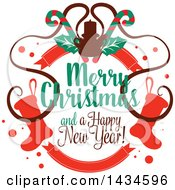 Clipart Of A Merry Christmas And A Happy New Year Greeting Royalty Free Vector Illustration