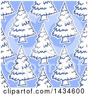 Seamless Background Pattern Of Evergreen Trees