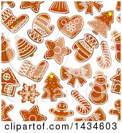 Seamless Background Pattern Of Gingerbread Cookies