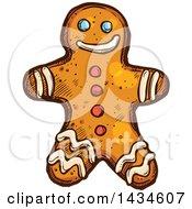 Sketched Gingerbread Man Cookie