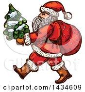 Sketched Santa Carrying A Small Christmas Tree