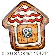 Clipart Of A Sketched Gingerbread House Cookie Royalty Free Vector Illustration