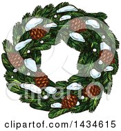 Clipart Of A Sketched Christmas Wreath With Pinecones And Snow Royalty Free Vector Illustration by Vector Tradition SM