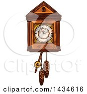 Clipart Of A Sketched Cuckoo Clock Royalty Free Vector Illustration