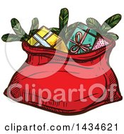 Clipart Of A Sketched Santa Sack With Christmas Gifts Royalty Free Vector Illustration