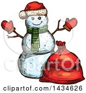 Clipart Of A Sketched Christmas Santa Snowman Royalty Free Vector Illustration