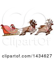 Clipart Of A Sketched Team Of Reindeer Flying Santas Sleigh Royalty Free Vector Illustration by Vector Tradition SM