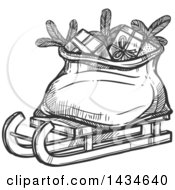 Clipart Of A Sketched Sled With Santas Sack Royalty Free Vector Illustration