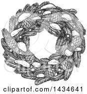 Clipart Of A Sketched Dark Gray Christmas Wreath With Pinecones And Snow Royalty Free Vector Illustration by Vector Tradition SM