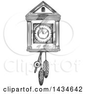 Clipart Of A Sketched Dark Gray Cuckoo Clock Royalty Free Vector Illustration