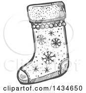 Sketched Dark Gray Christmas Stocking