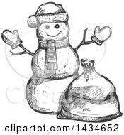 Sketched Dark Gray Christmas Santa Snowman