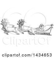 Sketched Dark Gray Team Of Reindeer Flying Santas Sleigh