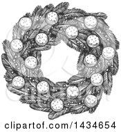 Sketched Dark Gray Christmas Wreath