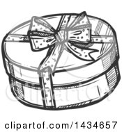 Sketched Dark Gray Round Christmas Gift Box