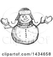 Sketched Dark Gray Snow Man