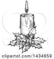 Sketched Dark Gray Christmas Candle