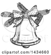 Poster, Art Print Of Sketched Dark Gray Christmas Bell
