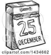 Sketched Dark Gray December 25 Christmas Calendar