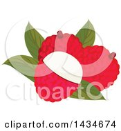 Clipart Of Tropical Exotic Lychee Fruit Royalty Free Vector Illustration