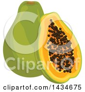 Clipart Of Tropical Exotic Papaya Fruit Royalty Free Vector Illustration