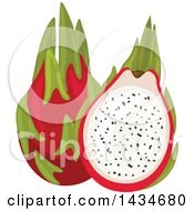 Clipart Of Tropical Exotic Dragon Fruit Royalty Free Vector Illustration