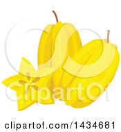 Clipart Of Tropical Exotic Star Fruit Royalty Free Vector Illustration