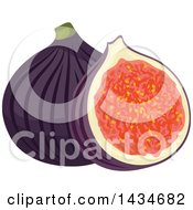 Clipart Of Tropical Exotic Fig Fruit Royalty Free Vector Illustration