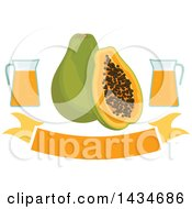 Clipart Of A Blank Banner With Tropical Exotic Papaya Fruit And Juice Royalty Free Vector Illustration