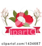 Clipart Of A Blank Banner With Tropical Exotic Lychee Fruit And Blossom Branches Royalty Free Vector Illustration by Vector Tradition SM