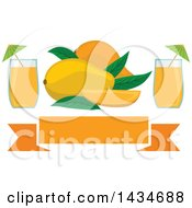 Clipart Of A Blank Banner With Tropical Exotic Mango Fruit And Juice Royalty Free Vector Illustration