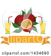 Clipart Of A Blank Banner With Tropical Exotic Passion Fruit And Juice Royalty Free Vector Illustration