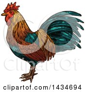 Clipart Of A Sketched Rooster Royalty Free Vector Illustration by Seamartini Graphics